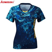 New Kawasaki Brand Sportswear Shirts For Female V-Neck Breathable Bright Color Women Badminton Tennis ST-S2104