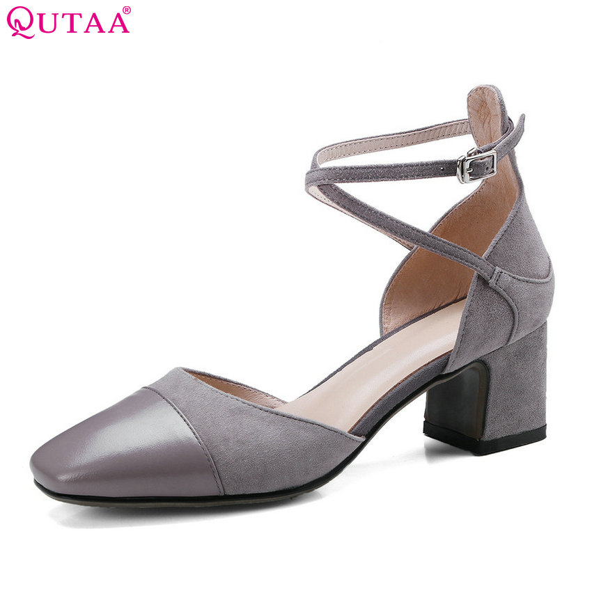 QUTAA 2018 Women Pumps Square High Heel Fashion Buckle Design Women Shoes Square Toe Sweet Style Women Pumps Szie 33-40 цена 2017