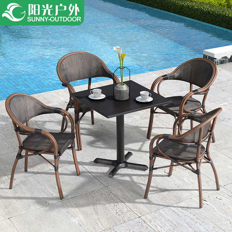 Outdoor table and chairs patio balcony coffee table chair three or five sets of room in Sun Loungers from Furniture