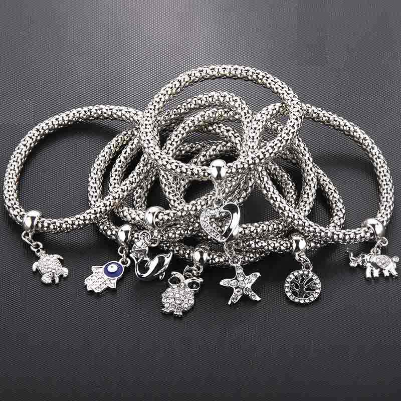 8 Styles Silver New Crystal Zircon Life Tree Owl Corn Chain Bracelet Stretch Stretch Bracelet Ladies Fashion Jewelry