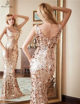 Poems songs Double V-neck Evening Dress vestido de festa Formal party dress Luxury Gold Long Sequin prom gowns reflective dress 4
