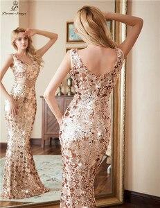 Image 4 - Gedichten Liedjes Dubbele V hals Avondjurk Vestido De Festa Formele Party Dress Luxe Gold Lange Sequin Prom Jassen Reflecterende Jurk