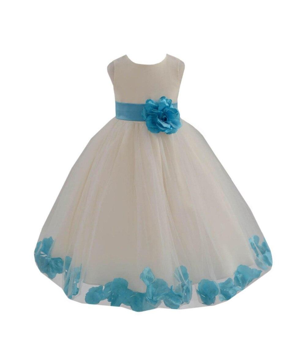Belle et mignonne princesse Tulle robe Zipper dos avec grand arc ivoire robe de bal fleur fille robes 2019 filles robes de reconstitution historique
