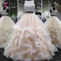 XCOS платье для выпускного вечера из двух частей с бусинами, лиф Vestidos de fiesta largos elegantes de Gala, бальное платье, торжественное вечернее платье