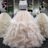 XCOS Two Piece Prom Dress Bead Bodice Vestidos de fiesta largos elegantes de gala Ball Gown Formal Evening Dress Gala jurken