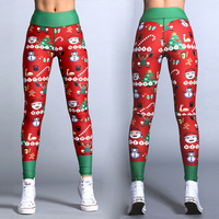 2017 New Merry Christmas Leggings Tree Snow Printed Women Fitness Leggings High Quality Elastic Workout Slim Jeggings Pants