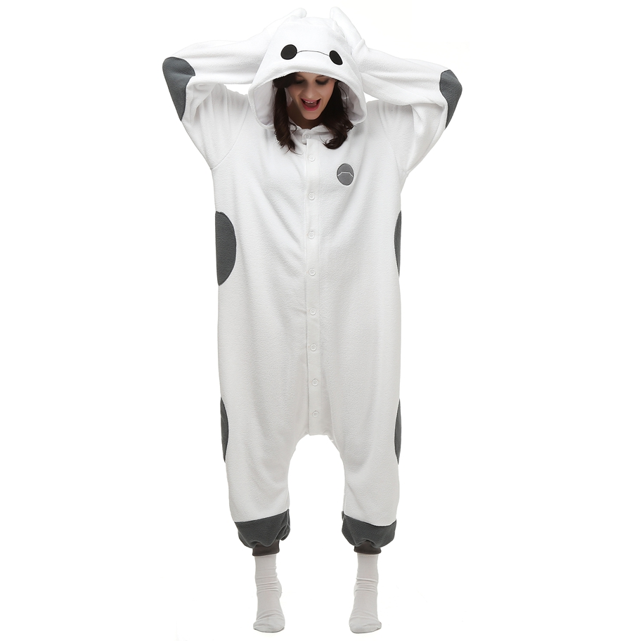 Anime Cartoon Fleece Kigurumi Baymax Costume For Adult Women Men's Onesies Pajamas for Halloween Carnival Party
