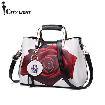 High Quality PU Leather Casual Tote Rose Flower Beaded Fashion Women Shoulder Handbags Crossbody Bags Evening Bags