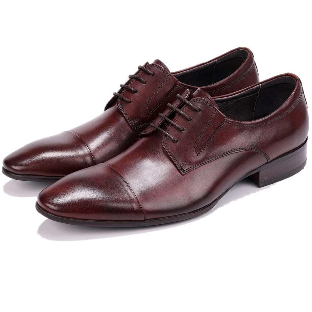 Fashion Black / Tan Mens Dress Shoes Genuine Leather Business Shoes Male Formal Wedding Groom Shoes