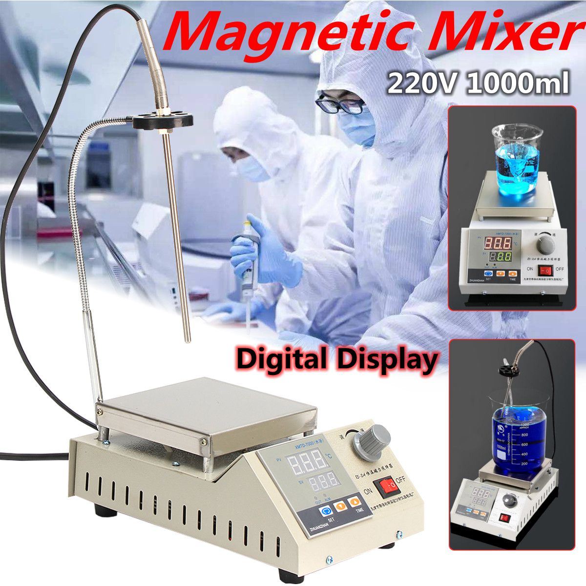 220V 85-2A Magnetic Stirrer With Digital Thermostat+ Timing Function Hot Plate Heating Mixer 2400rpm Heating Laboratory Tool
