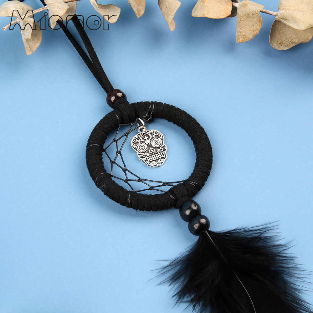 MIAMOR MINI Dream Catcher With Skull & Owl Halloween Party Scary Pendant Decor Car & Bag Decoration Accessories Gift AMOR0377