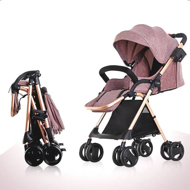High quality  flax Baby stroller light folding fashion four wheel shock absorber newborn baby stroller for children three in one