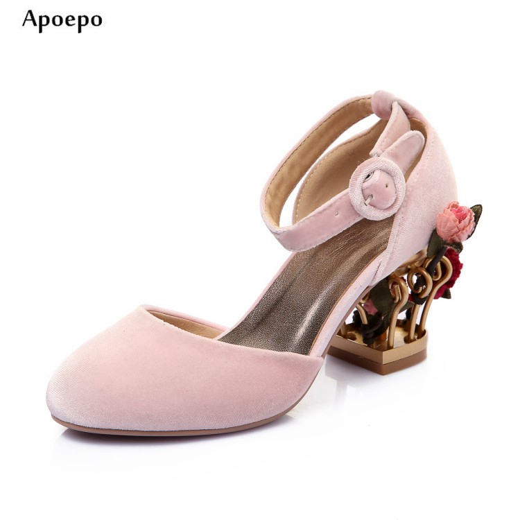 New 2018 High Heel Woman Shoes Pink Velvet Flower Decorations Caged Heels Pumps Strange Heels Ankle Strap Mary Janes phoentin crystal flower mary janes women pumps shoes strange high heels 10cm hook