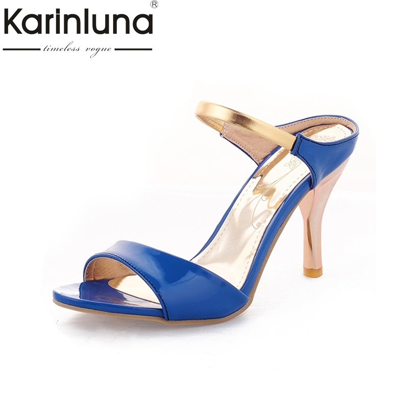 KARINLUNA Sexy Spool High Heel Ladies Summer Shoes Woman Gold Ankle Strap Flip Flops Open Toe Platform Sandals Ladies Footwear new ankle strap open toe high heels sexy ladies shoe women summer gold silver black sequins leather sexy sandals shoes smybk 022
