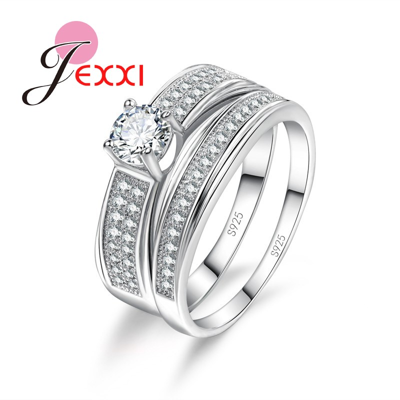 JEXXI Exquisite Women 925 Sterling Silver White AAA Crystal Stone Pendant Ring Set 2 PCS Romantic Engagement Wedding Jewelry
