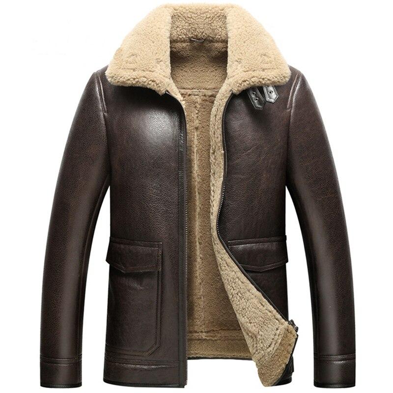 WANGZONGSHUN001 Leather Jacket Man Luxury Men's Shearling Coat Motorcycle Outerwear Aviator Fur Coat Flight Jacket