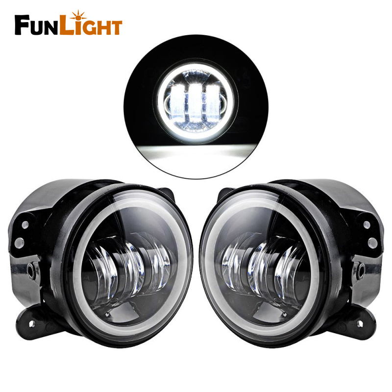 2pcs 4 inch 30W LED Fog Light Lamp White Halo Ring Angle Eye  For Jeep Wrangler Cherokee Dodge Chrysler Driving Offroad Lamp