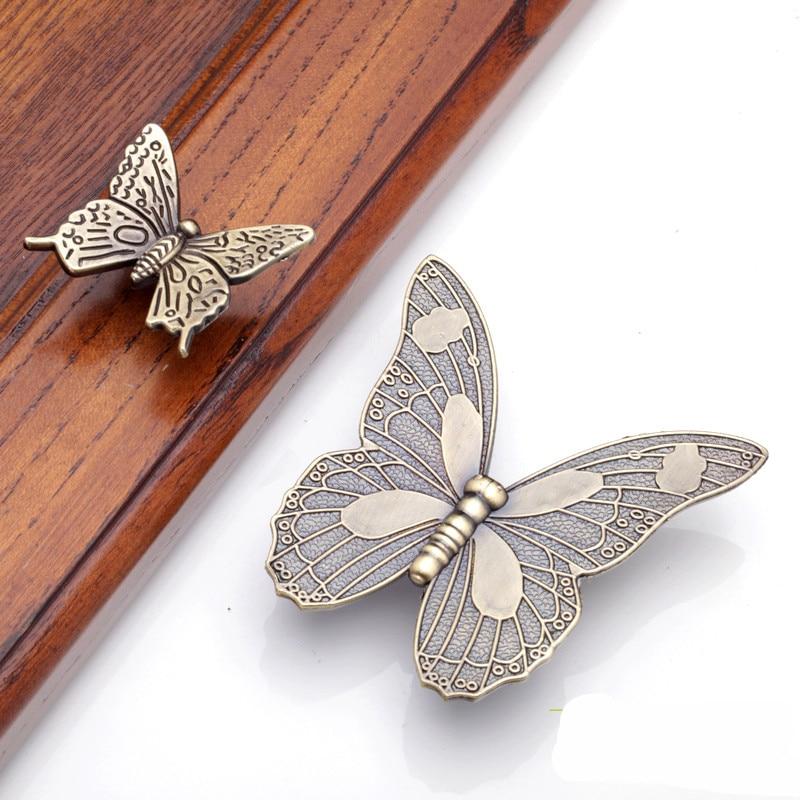 European Style Butterfly Design Handles For Furniture Door Knob Vintage Kitchen Cupboards  Para Gaveta Hardware Tool