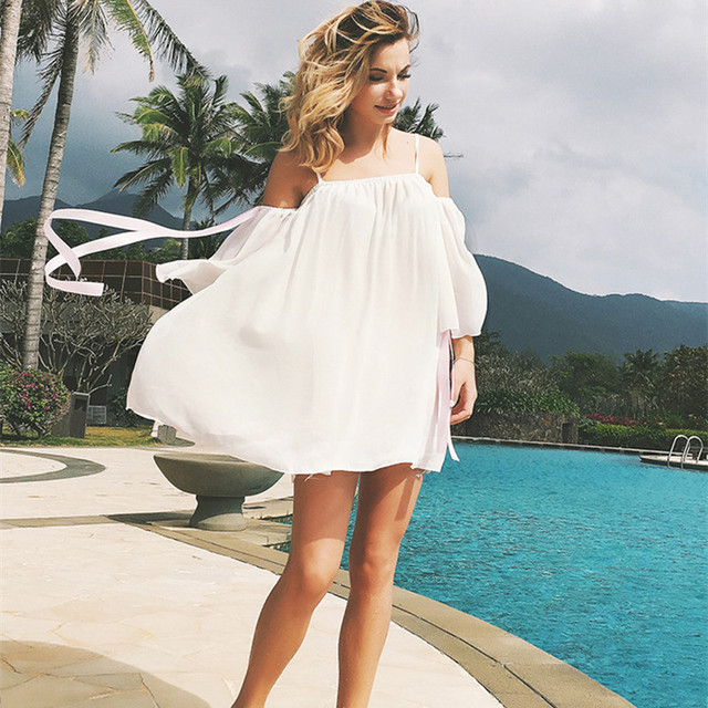 2018 Summer Short Dresses With Sleeves Women Tunic White Plus Size