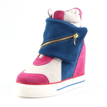 women shoes 2016 genuine leather hidden ladies wedge high heels sneakers platform wedge thick bottom high top mixed colors boots