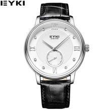2016 Nuevo Diseñador de La Vendimia de Cuarzo de EYKI reloj de Cuero Señores Mens Hombre Reloj Impermeable de los Relojes de Cristal de Diamante