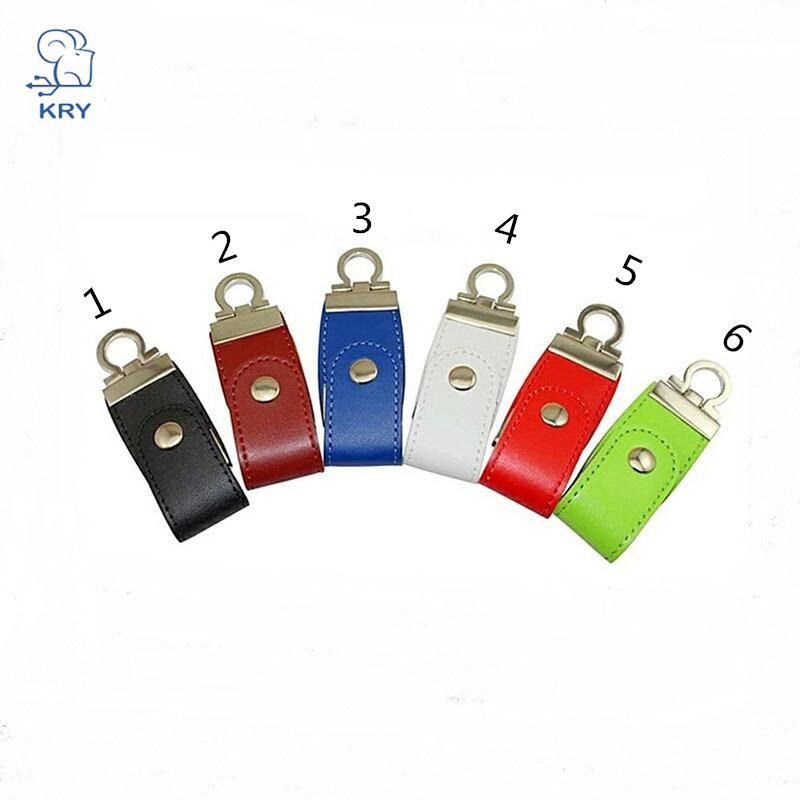 KRY portable leather style flash memory stick USB2.0 high-speed flash drive 4GB 8GB 16GB 32GB 64GB key chain business U disk