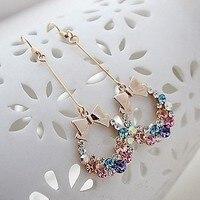 יהלומים מלאכותיים צבעוניים קשר קשת אופנה גדילים עגילי גבירותיי זהב מעוקב Zirconia קריסטל Bow עגיל נשים תכשיטי אופנה חמוד