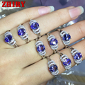 real 925 sterling silver natural Blue tanzanite ring women gem stone rings white gold plated engagement Noble jewelry