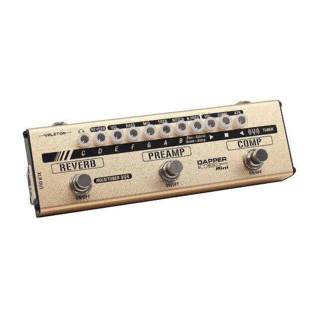 Valeton Dapper Acoustic MINI Effects Strip Tuner Comp Preamp Reveb Cab Sim Module Guitar Pedal for Acoustic Players MES-4