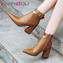 ANNYMOLI Autumn Ankle Boots Women Buckle Thick High Heels Short Boots Fashion Zip Pointed Toe Shoes Lady Winter Plus Size 34-43 annymoli winter ankle boots women rhinestone stiletto high heel short boots zip pointed toe shoes ladies autumn plus size 34 43