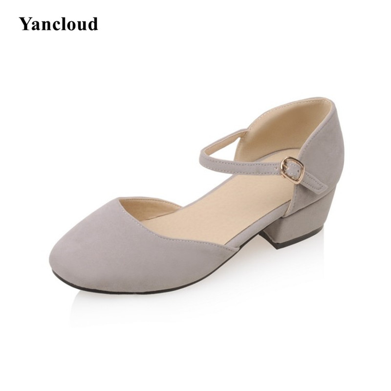 Retro Fashion Square Head Women's Medium Heel Shoes 2017 Summer Ankle Buckle Women Pumps with Heels Office Shoe selens pro 100x100mm 12nd square medium