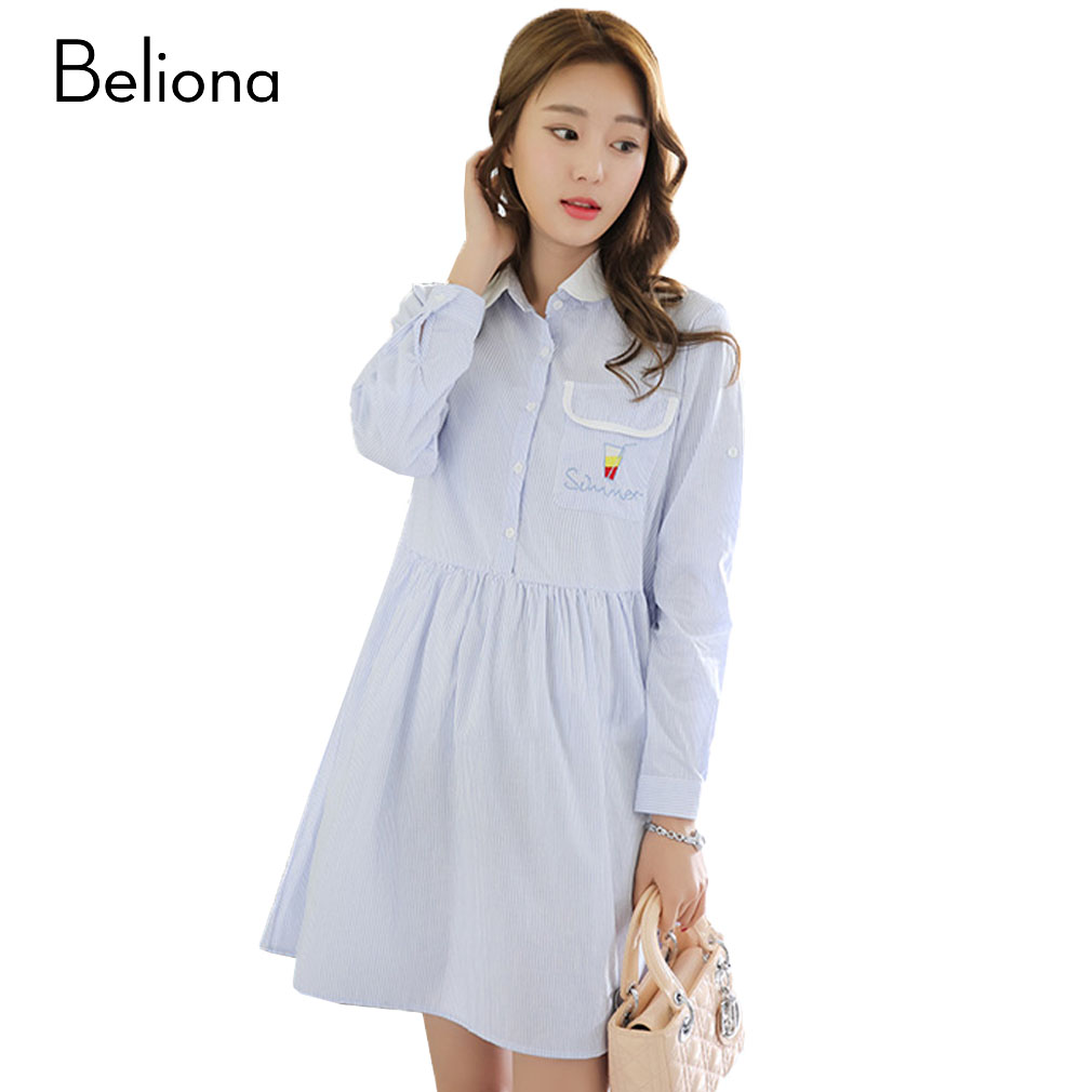 Online get cheap knit maternity dresses aliexpress alibaba turn down collar stripes maternity dresses for pregnant women long sleeve embroidery pregnancy clothing spring ombrellifo Image collections