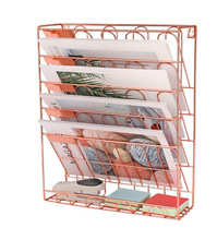 ヨーロッパシンプルなローズゴールドアイアン本棚デスクトップ図書雑誌収納ラッククリエイティブ収納ラックフォルダラック