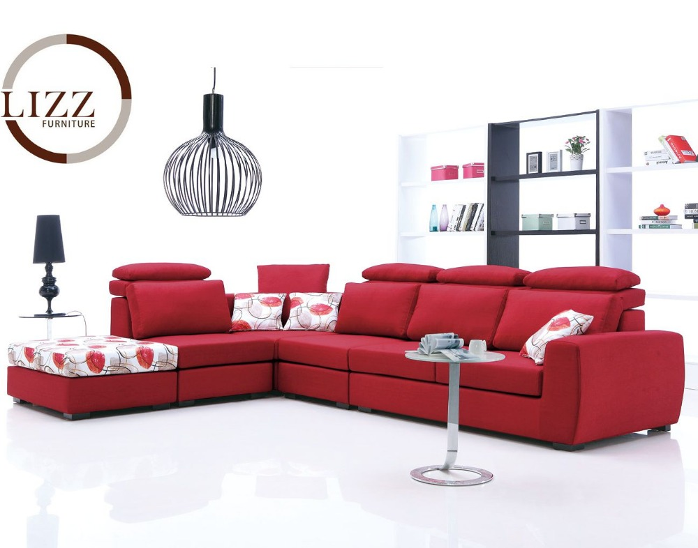 Lizz L Shaped Corner Sofa Fabric Couch Bright Red Sofa