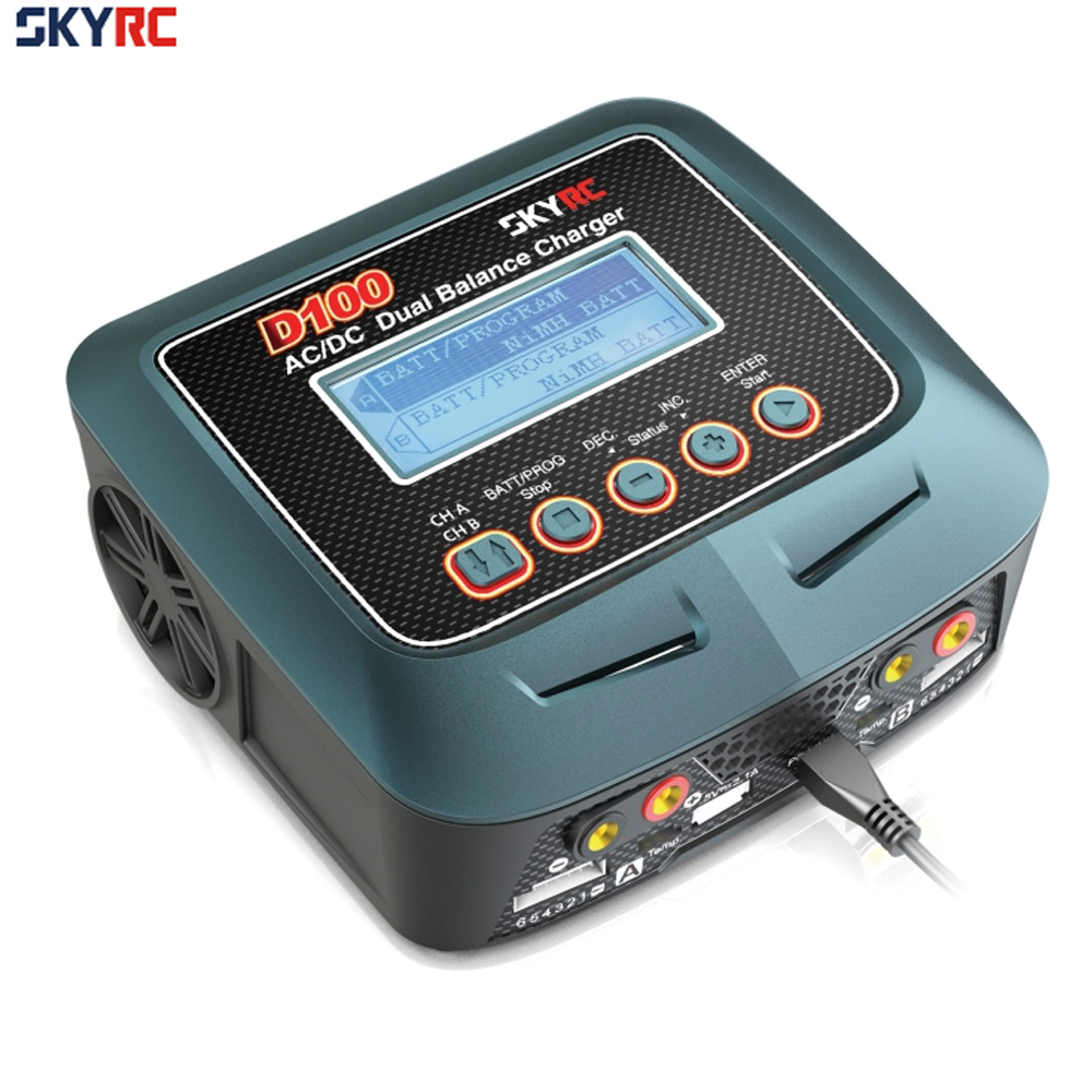 Skyrc D100 Charger Twin-Channel AC/DC LiPo 1-6s 2x100W Dual Balance Charger Discharger Lipo LiFe Li-ion NiMh PB Battery skyrc d100 2 100w ac dc dual balance charger 10a charge 5a discharge nimh lipo battery charger twin channel charge