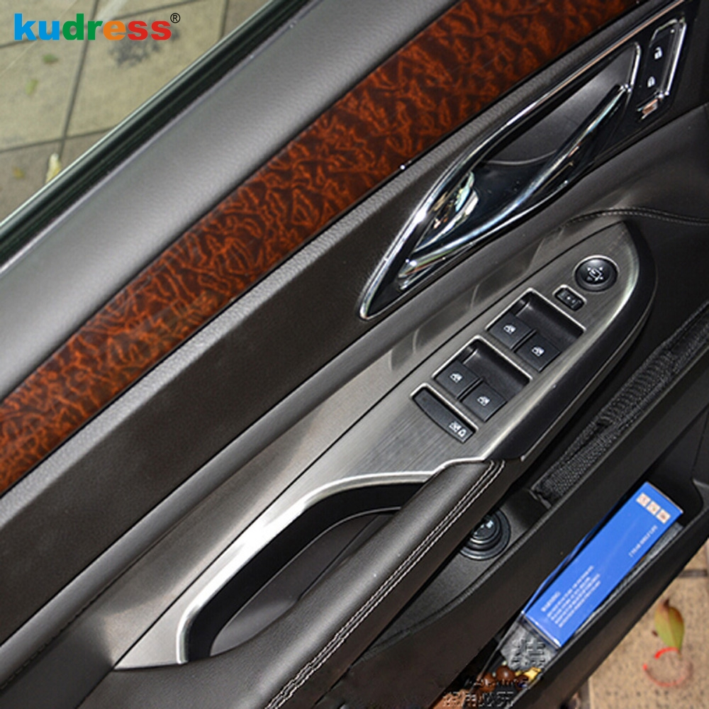 For Cadillac SRX 2010 2011 2012 2013 Stainless Steel Inner Door Armrest Window Lift Button Control Cover Trim Left Hand Driver
