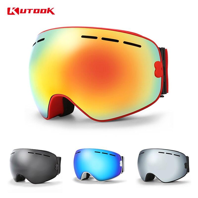KUTOOK Double-couche Snowboard Lunettes de Ski Lunettes Coupe-Vent Lunettes de Neige D'hiver de Ski Masque motoneige lunettes Avec Le Cas Lunette