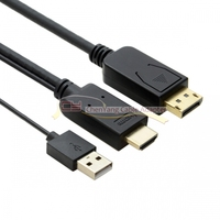 DisplayPort DP 20Pin to HDMI Source Male Sink 4K 2K Video Cable for PC Laptop Monitor 2m 200cm Black