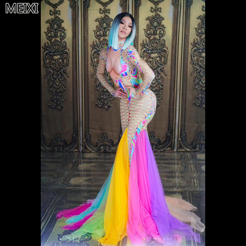 Sexy colorful lace mesh print stretch rainbow <font><b>dress</b></font> birthday party nightclub bar concert <font><b>DJ</b></font> singer/dancer costume image