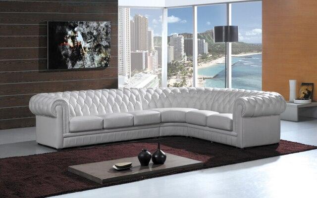 Sofá Chesterfield con cuero genuino sofá seccional moderno para ...