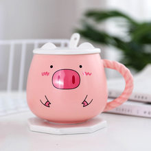 400ML cute pig ceramic mugs pink pig breakfast milk cup with lid spoon lady gift coffee mug handle creative ceramic cups(China)