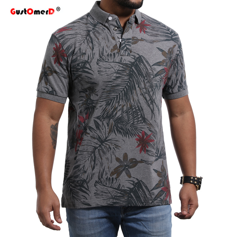 GustOmerD 2018 New Summer 100% Cotton Polo Shirt Men Short Sleeve Casual Camisa Polo Floral Soft Feel Quality Mens Polos