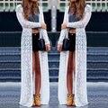 Women Boho Beach Sheer Lace Floral Crochet Long Cardigan Tops  Maxi  open stitch outwear