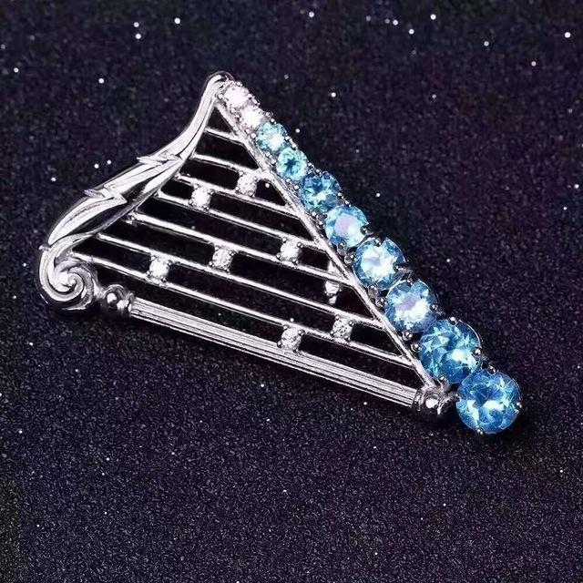 Nova moda pingente harpa 100% natural pingente de topázio & brooth pure 925 pingente de prata com colar de prata livre
