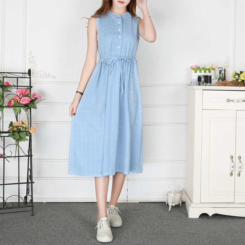 Mori Girl летнее женское длинное платье без рукавов с воротником-стойкой хлопковое льняное платье на бретелях синее серое клетчатый, хлопчатобумажный сарафан Размеры s m l xl