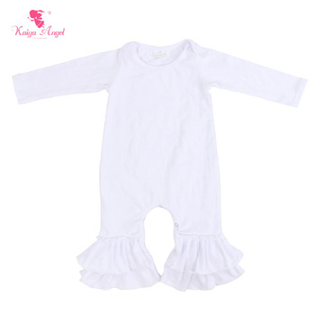 Kaiya Angel Baby Romper Hot Sale Newborn Baby Girl Romper Pure White Fall Long Sleeve Jumpsuit Clothes 0-24M Factory wholesale