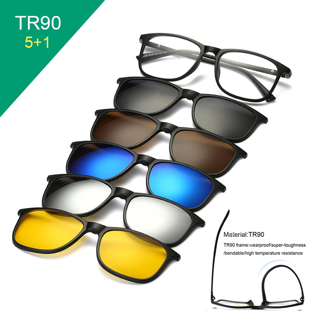 TR90 Clip On Sunglasses men Magnetic clip Sunglasses women Magnet Clip Optical Myopia glasses Frame with 5 sunglasses lens