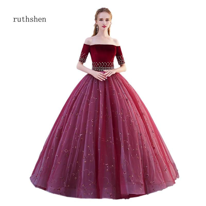 Robes de impitoyshen Quinceanera 15 Anos bourgogne Quinceanera robes broder robe de bal perlée robe de bal bouffante robes de Quinceanera