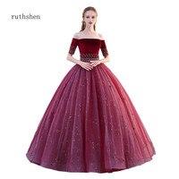 Ruthshen Vestidos Бальные 15 Anos бордовые платья Quinceanera с вышивкой бисером бальное платье пушистое платье для выпускного вечера бальные платья