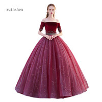 ruthshen Vestidos Quinceanera 15 Anos Burgundy Quinceanera Dresses Embroider Beaded Ball Gown Puffy Prom Dress Quinceanera Gowns